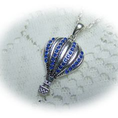 Hot Air Balloon Rhinestone Pendant - Blue Hot Air Balloon - Blue Rhinestones - Sapphire - airship - Zeppelin- Silver and Blue - Steampunk by SouthernBelleOOAK on Etsy