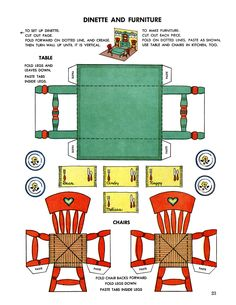 Paper doll house, Dinette and Furniture Paper Furniture, Doll Furniture, Dollhouse Furniture, Paper Doll House, Paper Houses, Paper Toys, Paper Crafts, Vintage Paper Dolls, Printable Paper