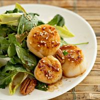 SCALLOPS-PECAN WILTED SALAD Sesame seed-coated scallops and crunchy pecans top crisp endive and peppery arugula. A spicy-sweet dressing of maple syrup, cayenne pepper, and soy sauce adds zing. http://www.bhg.com/recipe/salads/scallops-pecans-wilted-salad/