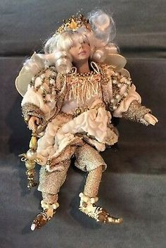 "Vintage Christmas Angel 12"" Ivory White Hair Beautiful  
