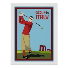 (new) Retro 1920s style Golf in Italy travel ad posters, postcards, t-shirts