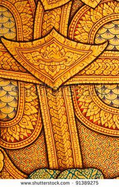stock photo : Thai painting art  at Wat Phra Kaew, Bangkok, Thailand