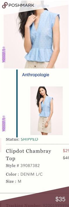Anthropologie Clipdot Chambray Blue TopSize Medium Anthropologie Clipdot Chambray Blue TopSize Medium be Porridge Anthropologie Tops