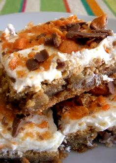 Butterfinger Blondie Recipe--delish! HOWEVER, the frosting was so super sweet we scrapped it off and didn't eat it!