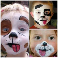 maquillage Halloween-Gesicht d& chat Dog Makeup, Kids Makeup, Cat Halloween Makeup, Up Halloween, Puppy Face, Cat Face, Dog Face Paints, Halloween Gesicht, Face Painting Designs