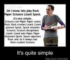 The Big Bang Theory : Sheldon : Rock, Paper, Scissors, Lizard, Spock John Ross Bowie, Big Bang Theory Funny, Funny Quotes, Funny Memes, Tv Quotes, Spock Quotes, It's Funny, Rock Paper Scissors, Entertainment