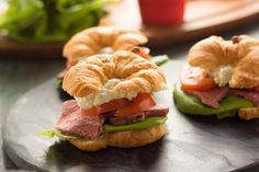 Roast Beef Croissant Sandwiches by Food Fanatic