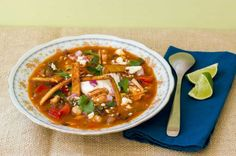 Get all the flavors of a taco in a simmering pot of soup topped of with cravable, crispy fried tortilla strips.