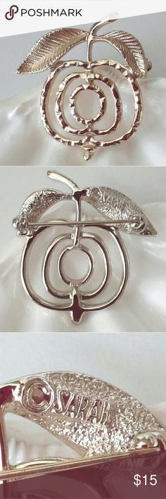 Vintage Sarah Coventry Apple Brooch Signed Teacher Vintage designer signed Sarah Coventry Apple brooch. Hammered design on front.  Teacher gift! Sarah Coventry Jewelry Brooches