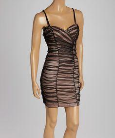 Look at this #zulilyfind! Black & Blush Chiffon Sweetheart Dress by InspireMe #zulilyfinds