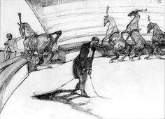 Henri de Toulouse-Lautrec - At the Circus: Free Horses (This drawing is…