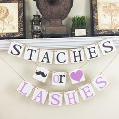 Staches or Lashes Banner, Gender Reveal banner, Baby Shower Decor, Baby Shower…