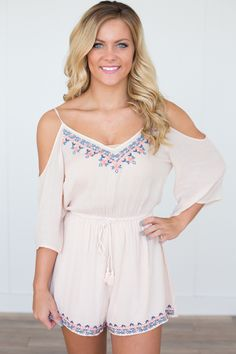 """Shop our Cold Shoulder Tie Waist Romper. Embroidered top. Elastic waist. Measures 30"""" from shoulder to hem. Rayon. Lined. Always free shipping on US orders $50 & up!"""