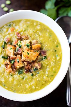 Hearty Split Pea Soup and Smoky Bacon Soup with Rustic Garlic-Butter Croutons Soup Recipes, Dinner Recipes, Cooking Recipes, Healthy Recipes, Bacon Soup, Frijoles, Soup And Sandwich, Soup And Salad, I Love Food
