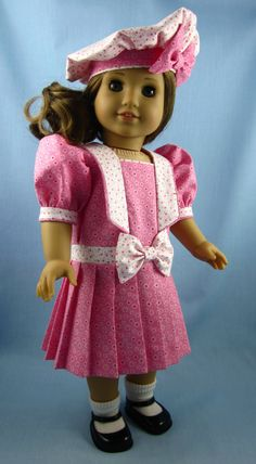 American Girl Doll Dress - Drop Waist Dress with Pleated Skirt and Beret - Pink