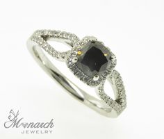 #Engagement / #wedding #ring black diamond Solitaire and diamond band from our #bridal showroom in #MonarchJewelry in #WinterPark, #Florida