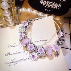 Pandora pink poetic blooms magnolia flower charm bracelet gift for her spring bracelet