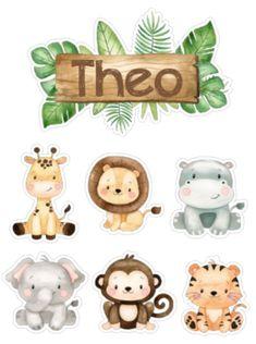 Jungle Theme Cakes, Jungle Theme Birthday, Safari Cakes, Safari Theme Party, Baby Boy 1st Birthday, Animal Birthday, Deco Jungle, Jungle Safari, Baby Illustration