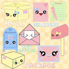 Kawaii clipart- perfect for cute stickers for the planner. by Virtualcuteness