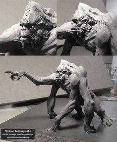 Gorilla plasticine sketch, Scibor Teleszynski on ArtStation at http://www.artstation.com/artwork/gorilla-plasticine-sketch