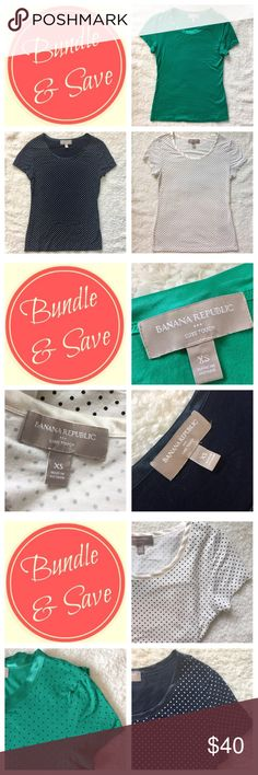 NWOT: Collection of Banana Republic T-Shirt XS. THREE Banana Republic, Luxe, Blue, green and white, polka dot t-shirt bundle. Never worn. NWOT. All three for one adjusted price! Banana Republic Tops Tees - Short Sleeve