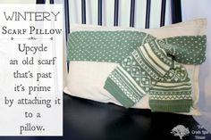 A cozy-looking pillow made from an old scarf at The Creek Line House.