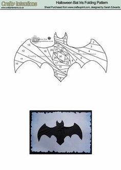 Halloween Bat Iris Folding Pattern on Craftsuprint designed by Sarah Edwards - Halloween Bat Iris Folding Pattern - Now available for download!