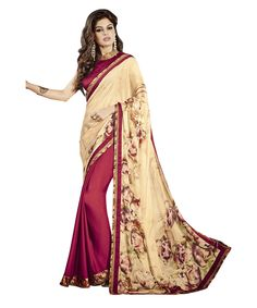 Buy Now Cream-Maroon Printed Pure Crepe Fancy Festival Saree with Brocade Blouse only at Lalgulal.com  Price :- 1,912/- inr To Order :- http://bit.ly/1UhPGkA  COD & Free Shipping Available only in India #printedsaree #saree #casualsaree #festivalsaree #lalgulalsaree #designercollection #georgettesaree #partywearsaree #Indiansaree