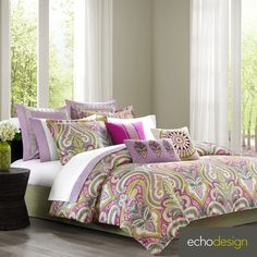 Give your bedroom a whimsical look with this lovely Echo Design Vineyard Paisley four-piece comforter set. The cotton comforter set features an eye-catching palette of lavender and green for a calming