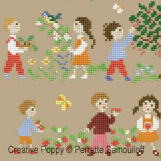 Perrette Samouiloff - Happy Childhood - Spring (large): cross stitch