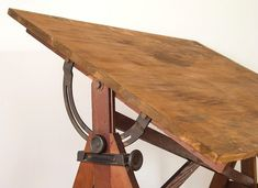 Vintage Drafting Table Designs: A Company Working Out the Details - Sewing Craft Table, Vintage Drafting Table, Lunch Table, Art Stand, Dark Wood Stain, Farms Living, Vintage Industrial, Cool Kitchens, Repurposed