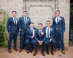 Groomsmen in blue suits and brown shoes @alejosclifford