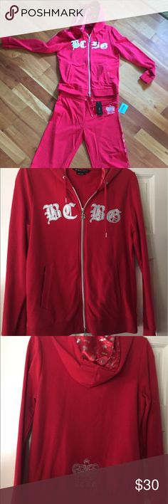 "BCBG jogging suit BCBG Maxazria Red sweatshirt Jacket and matching sweat pants. Has gray/silver detailing. Jacket zips from top and bottom, has good and two from pockets, size large. Pants have 32"" inseam size XL and new with tags BCBGMaxAzria Tops Sweatshirts & Hoodies"