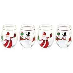 Christmas Presents Set of 4 Hand Painted Stemless Wine Glasses ** To view further for this item, visit the image link.
