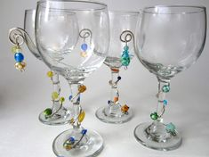 Wine Glass Set of Four oz. with Beaded Wire Wrapped Stems Sparkling Summer Collection Decorated Wine Glasses, Painted Wine Glasses, Wine Glass Set, Wine Glass Charms, Wine Bottle Crafts, Wine Bottles, Wedding Glasses, Craft Markets, Beads And Wire