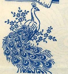 Hand-Embroidery-Transfer-622-Peacocks-for-Pillow-Cases-Towels-Vanity-Scarf-Cloth