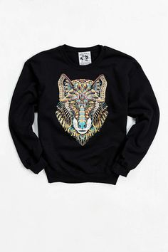 Riot Society Ornate Wolf Sweatshirt