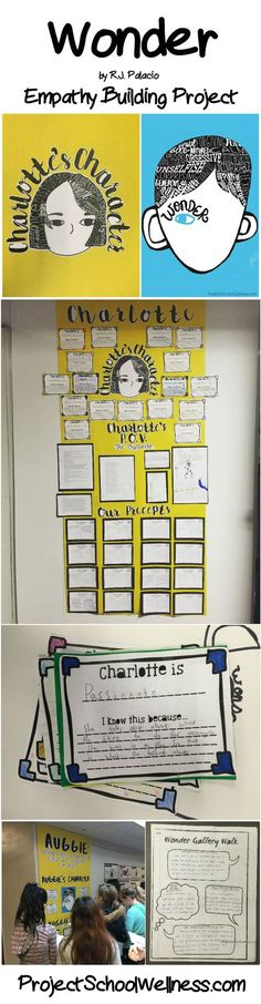 Wonder by R.J. Palacio, Wonder Lesson Plans, Wonder Middle School, Empathy Building Project, Empathy Lesson Plans