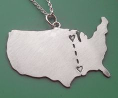 Long Distance Love Customizable Necklace by sudlow on Etsy, $68.00