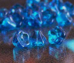 Blue Capri Flower Bell Czech Glass Beads 8x6mm Cup  by simplypie