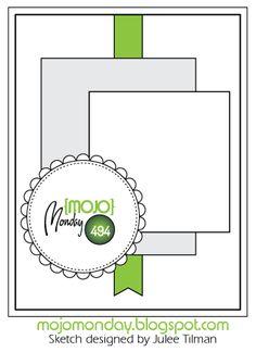 Mojo Monday 494 card sketch designed by Julee Tilman #vervestamps #mojomonday #cardsketches #sketchchallenge #cardchallenge