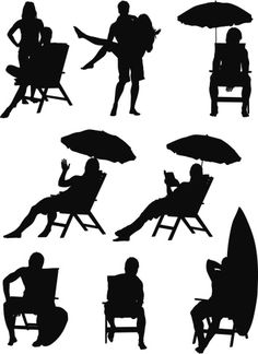 Vectores libres de derechos: Silhouette of people on vacations
