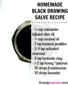 Homemade Amish Drawing Salve Recipe for Splinters, Boils, Warts & More - beautymunsta - free natural beauty hacks and more! - Ingredients needed to make this black drawing salve – Natural Homemade Black Drawing Salve Recipe - Natural Health Remedies, Herbal Remedies, Cold Remedies, Bloating Remedies, Cough Remedies For Adults, Black Drawing Salve, Drawing Salve For Boils, Skin Drawing, Salve Recipes