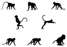 Monkey Silhouette Vector - silhouettevector.net