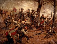 "This painting captures the intensity and action of war, as the soldiers put their lives on the line for their country. This painting was awarded a Gold Medal by the American Art Association in 1882. // ""Holding the Line at all Hazards"" (1882) Gilbert..."
