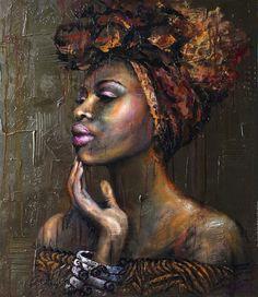 The Black Art Depot — fyblackwomenart: Gold of Africa by Viktorija. Black Art Painting, Black Artwork, Black Love Art, Black Girl Art, Arte Black, African American Artwork, African Art Paintings, Black Art Pictures, Africa Art