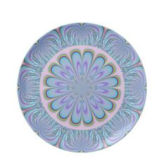 Baby Blue and Pink Flower Plate