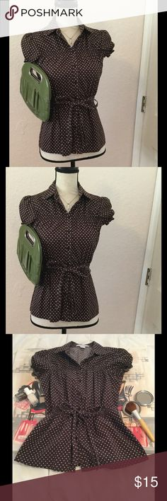 """🛍Sale🛍Charlotte Russe Polka Dot Top This beautiful top is too fabulous for words. The best part.... it's even cuter in person! Cheaper on Merc.  Measurements: Length: 25"""" Waist: 26""""-34"""" Bust: 32""""-36""""   10% of the proceeds of this item go to HOWMS.ORG, a charity devoted to building homes for orphans, widows, and the elderly in Malawi, Africa. (To read more please check out my """"News Update"""" Listing) Charlotte Russe Tops Blouses"""