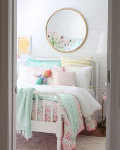 sweet girl bedroom decor with pink and aqua bedding and shiplap girl bedding id Tween Girls Bedroom aqua bedding Bedroom Decor Girl Pink shiplap Sweet Girl Beds, Bedroom Inspirations, Bedroom Design, Shared Girls Bedroom, Little Girl Bedroom, Toddler Bedrooms, Tween Girl Bedroom, Girls Bedroom, Girl Room