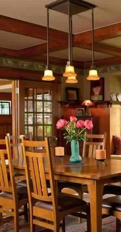 48 Modern Dining Room Ceiling Light Design Ideas You Need To Try Bungalow Dining Room, Craftsman Dining Room, Craftsman Furniture, Craftsman Interior, Craftsman Style Bungalow, Bungalow Homes, Craftsman Bungalows, Craftsman Houses, Style At Home